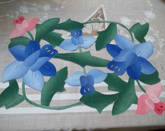Vintage Placemats Pink, Blue, Green Cut Out  Flowers shabby chic cottage place mats  set of 4