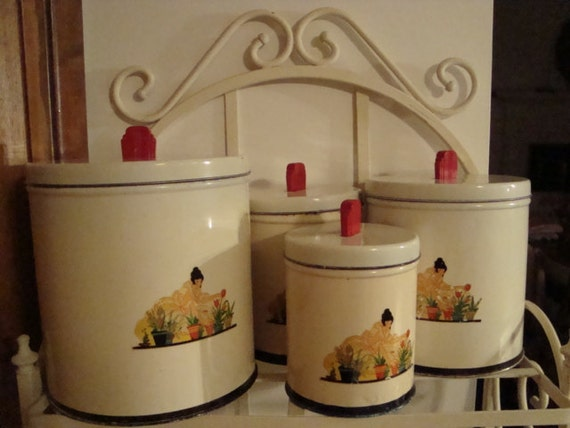 Vintage Deco  Metal Canisters
