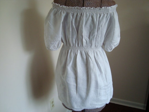 Vintage white linen gypsy or white mexican style blouse  style blouse