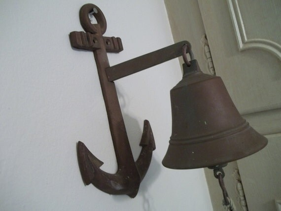 Vintage Nautical Door  Bell Anchor  Brass deep patina Seaside Beach House Decor by Hermina's Cottage