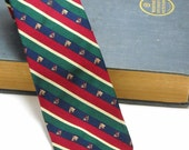 Mens Necktie Repp Stripe and Club Horses and Hunting Horns Kenneth Gordon