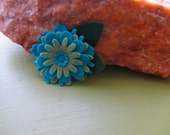 Green and Blue Felt Flower Pin or Barrette