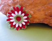 Ruby, White and Green Felt Flower - Pin or Barrette