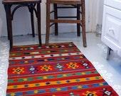 Handwoven Oriental Kilim/ Rug,  Organic Wool Rug, Rag Runner / Rug 6.6 ' x 2.2 ' (200cm X 66cm)