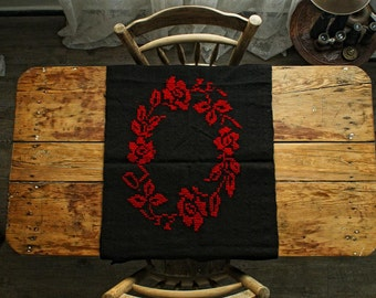 Vintage Table Runner,Vintage Hand Embroidered with 100% Organic Wool, Vintage Black Burlap Table Runner
