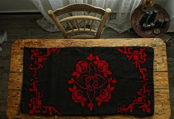 RESERVED FOR SEYMOUR  Large Pillow Case, Hand Embroidered with 100% Organic Wool, Vintage Black Burlap Pillow Case