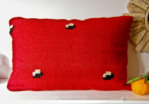"SPRING SALE Handwoven Woolen Kilim Pillow Cower, 22"" X 14"" Decorative Pillow, Red Kilim Pillow Cower"