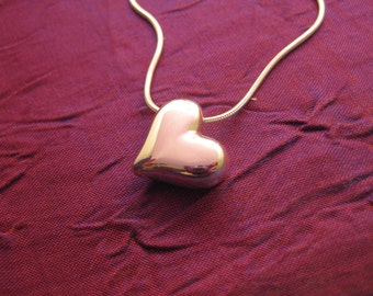 Heart - Solid Sterling Silver Pendant with Snake Chain