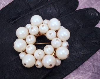 Pearl Cluster Beaded Faux Pearl 60s Pin Brooch cybermonday cyber monday
