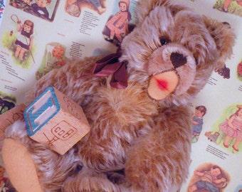 Last Chance SALE Steiff 8 inch Zotty Bear Mohair Goats hair Growler Teddy Plush Toy Teddy Brown Tan Fluffy Open Mouth