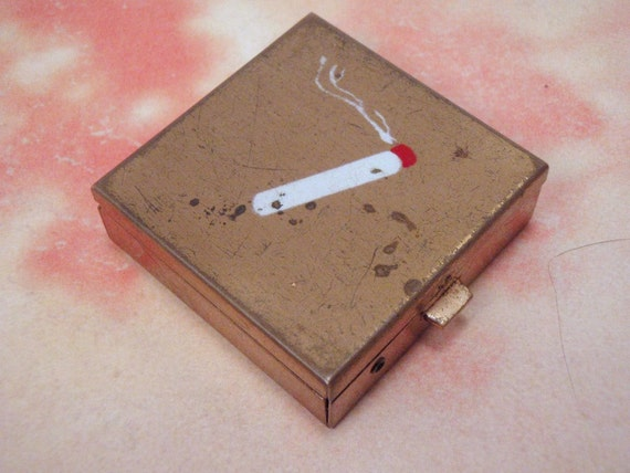 Vintage Pocket Ash Tray Square Compact With Cigarette Holder
