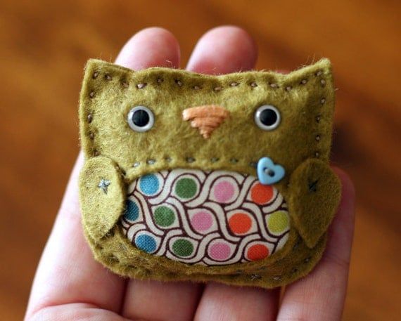 Olive Green Owl Brooch