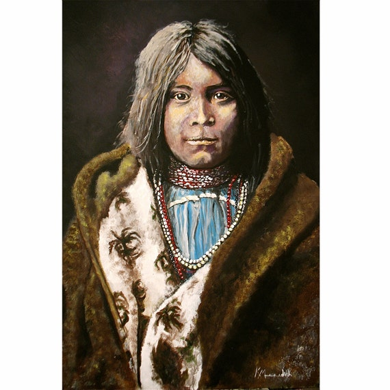 Young Navaho Girl a print of an original painting