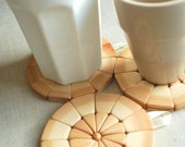 Set of three(3) juniper wood coasters- Kitchen utensil-Trivet-Eco friendly,untreated wood-Rustical-Home decor-Outdoor wedding