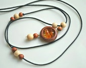 Circle-Juniper wood pendant,amulet-Cotton cord,amber beads-For him,for her-Gift idea-Eco friendly-Rustic