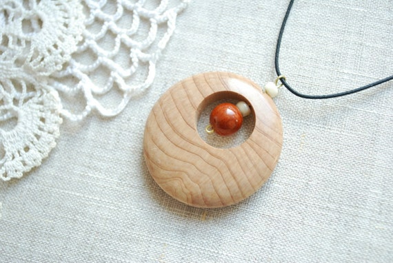 circle, juniper wooden pendant, amulet, for him, for her, mothers day, gift idea under 10, eco friendly, beige brown, birthday gift