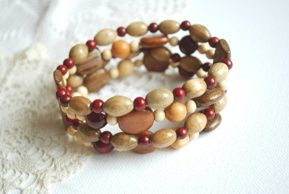 Ash-oak-juniper-cherry tree wooden bracelet-Eco friendly-Country style-Multicolor