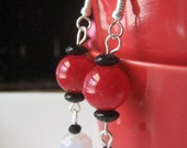 "Red Black White AB 2 1/2"" Earrings Women Dangle tweens faceted rondelle hooks pierced ears women aurora silver-plated"