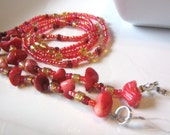 """Coral Bits Pink Red Beaded Eye Glass Chain 32 1/4"""" seed beads coral chips elastic grandma granny mom ladies magnifying OOAK"""