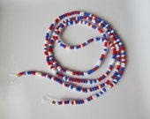 "Red White & Blue Eye Glass Chain for eyeglasses 25 3/4"" Magnifying Mothers Day Independence Day July 4th elastic seed beads"