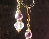 Purple Lavender Faux Pearl Earrings Crystal Gold Mom Mother Summer Spring Fashion May women gift housewarming neighbor