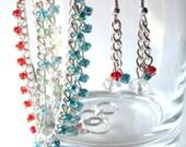 Blue Red Green White Aurora Glass Beaded Multi Chain Bracelet Earring Set Combo Mom Mother Summer Fashion Graduation Gift Women