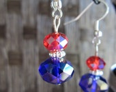 Blue Red Aurora Glass Beaded Earrings Mom Summer Fashion Graduation Gift Women Independence Memorial Day Patriotic
