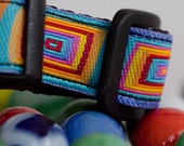 Rainbow colored squares on 5/8 inch dog collar.
