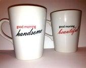 "Latte mug couple set of 2 Personalized mug set- ""Beautiful and Handsome""  RED, BLACK set perfect couple gift wedding gift, housewarming Gift"