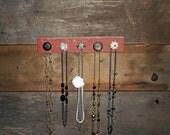 Hanging Necklace Organizer on Red Barn Wood - 5 Knob Rack