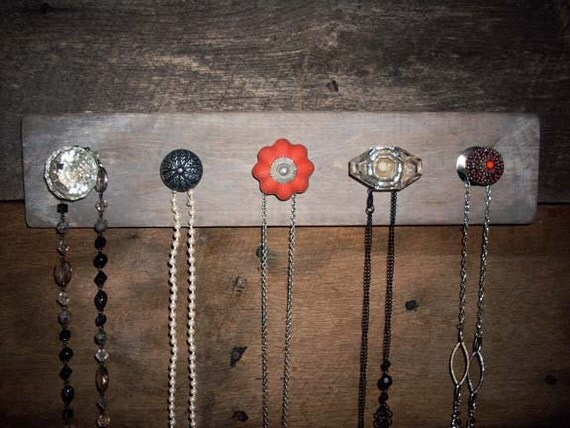 Necklace Holder with Red and Black Knobs