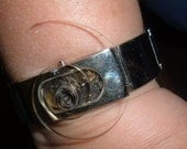 Bracelet  Watch Parts and Main Spring Mounted on Front..Unique STEAMPUNK