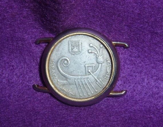 Jewelry for Men.  Coin Pin Featuring  Ancient Galley Set in Recycled Watch Case