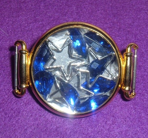 Unique Watch Case Pin filled with Blue Gem Stones and Metal Stars