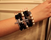 Three Agate, Shell Pearls, Rhinestone Bead, Skull and Side Way Cross Stackable Bracelets