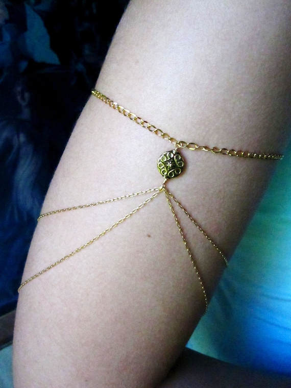 Two Gypsy Armlets, Chain Armlets, Gold Color Japanese Chain Armbands, Gypsy Chain Armbands