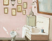 Original Oil Painting on Canvas - Bathroom -  10 x 12 inches