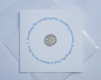 Sixpence Wedding Card / Gift for the Bride. Bridal Shower Card / Gift for Wedding. British Sixpence Card for luck.