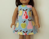 """American Girl 18"""" doll Apples and Pears Retro Shift Dress - Made To Order"""