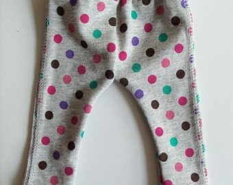 American Girl 18 inch doll pants/leggings - Cotton Knit Grey Leggings with Multi-Colored Polka Dots