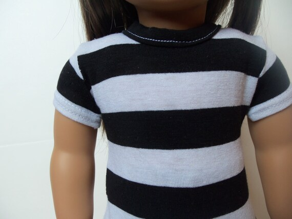 Basic Fitted T-Shirt for an American Girl or 18 inch doll - Black and White Stripes Made to Order