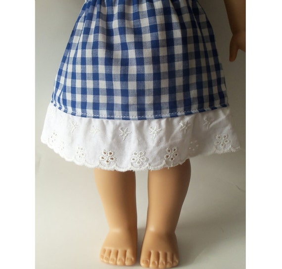 Alice Gingham Lace Skirt for American Girl 18 inch doll or Bitty Baby doll