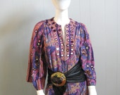 70s Vintage ETHNIC COTTON and MIRRORS Bell Sleeve Hippie Boho Caftan Dress