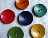 Wooden buttons, painted, x 24, assorted, 25mm