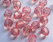 Acrylic faceted bead  x 50, light pink, transparent, 10 mm, free combined shipping