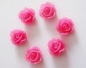 11mm flatback hot pink resin rose bead cabochons with glitter x 20,  free combined shipping
