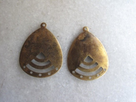 Brass earring findings, chandelier component, tear drop with 5 bottom holes x 6, free combined shipping