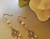 Bridal Hollywood Regency Freshwater Pearl Earrings
