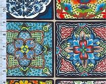 Elizabeth Studios FIESTA MEXICAN Southwestern Pottey TILES quilt fabric