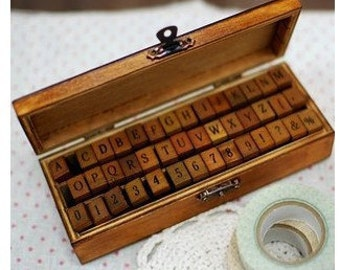 Wooden Rubber Stamp Box - Vintage Print Style - Capital Alphabet Stamp and Number Stamp-42 Pcs